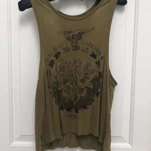 Army green open back patriotic tank